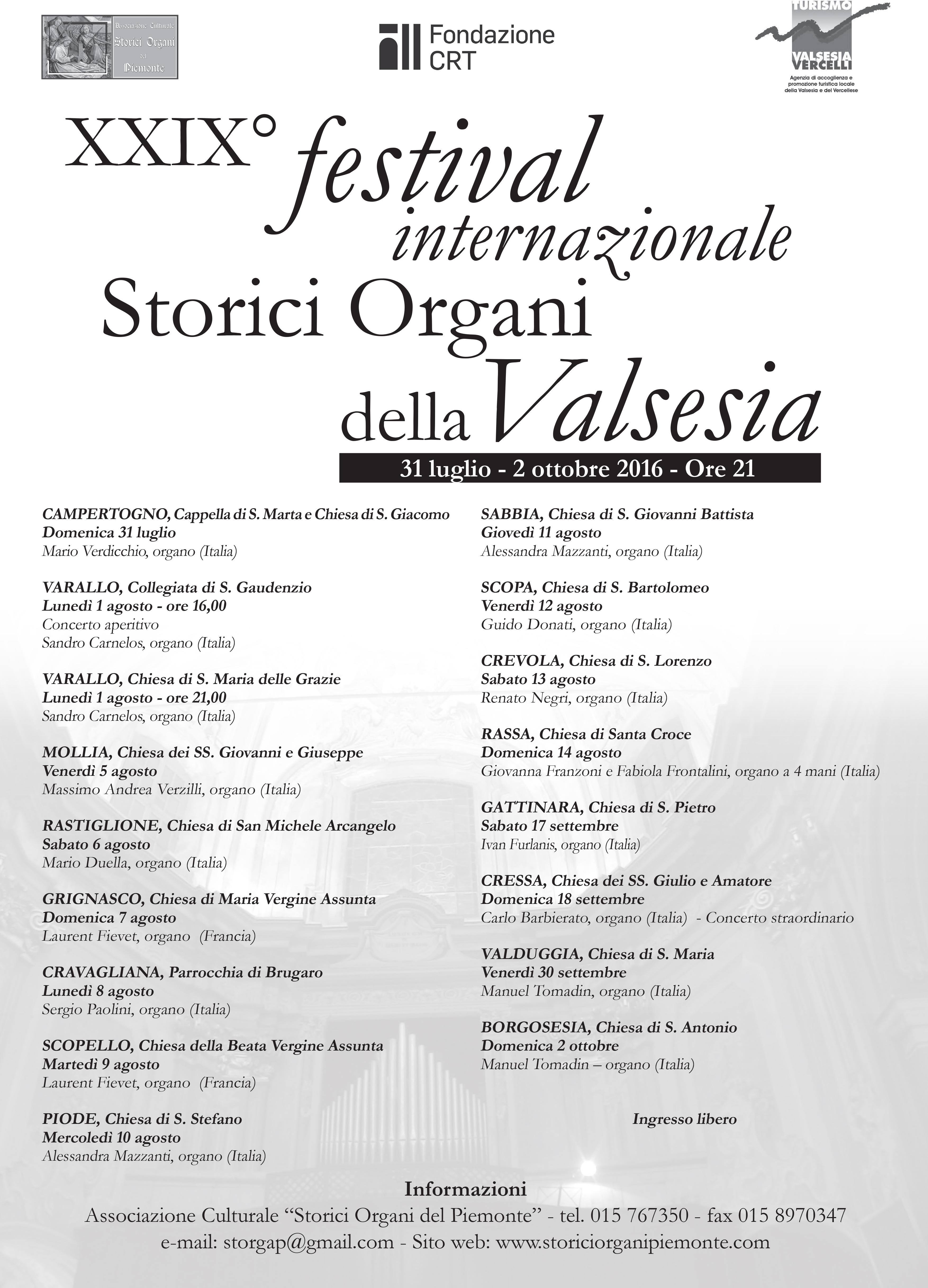 Guido Donati_Locandina Festival Internazionale Storici Organi della Valsesia - Scopa